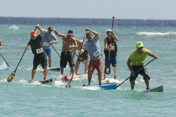 Danny Ching leads the Waikiki Paddle Festival Survivor Race
