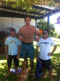 Luc Longley and Travis Grant SUP
