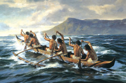 Traditional outrigger canoe