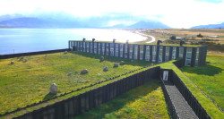The grass-roofed Hotel Remota in Patagonia