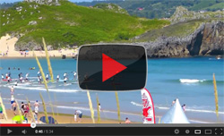 Stand Up Paddler race in Noja, Spain