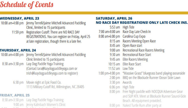 Carolina Cup Stand Up Paddle race schedule