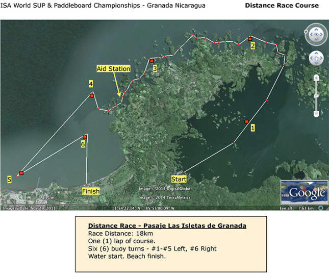 ISA World SUP Championship Granada distance course map