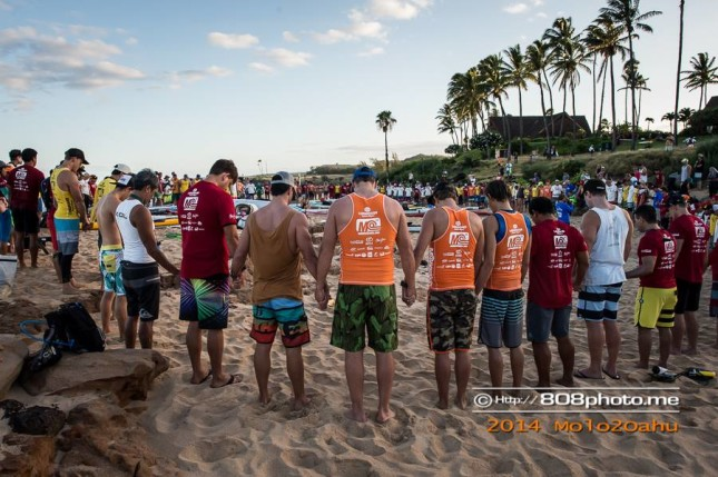 Pule prayer circle Molokai 2 Oahu race Hawaii