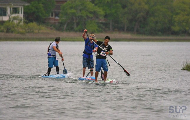 Travis, Connor and Danny setting the pace at the 2015 Carolina Cup (photo: Chris McQuiston for SUP Racer)