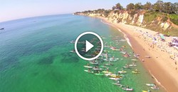 Malibu stand up paddling video drone