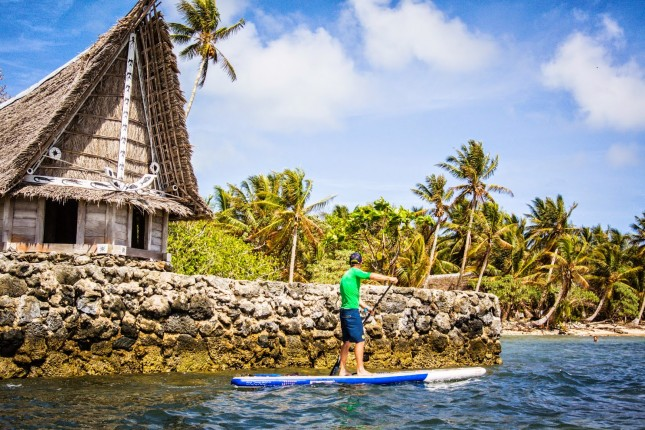 Stand up paddling in micronesia