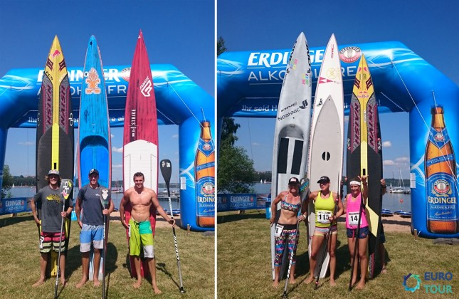 Top finishers from the men's and women's 'Fastest Paddler On Earth' race (photo: SUP Racer)