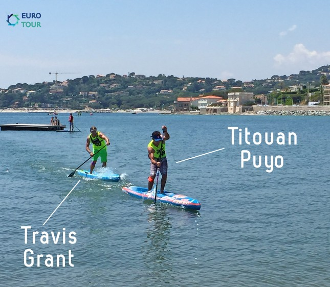 Travis Grant and Titouan Puyo stand up paddling