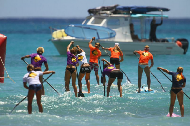 stand up paddle race in Waikiki