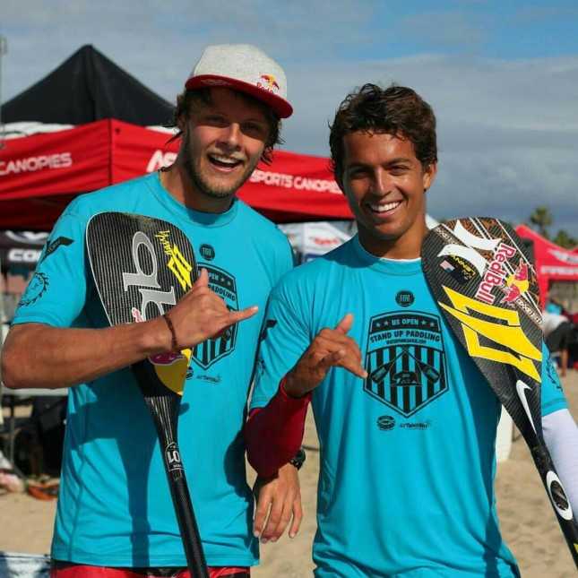 Casper Steinfath, the new world #7, with #2 Kai Lenny at Huntington yesterday (photo: World Series)