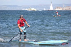 Mo Freitas stand up paddling in San Francisco