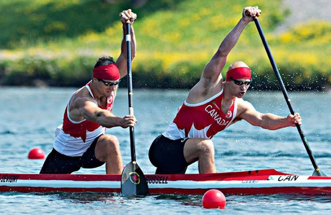 Canada's Gabriel Beauchesne-Sevigny, left, won the C2 1000m gold medal at the 2015 Pan Am Games along with his C2 partner Benjamin Russell