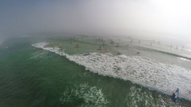 "Start of the ""Surf"" to Sound Challenge in Wrightsville Beach. Foggy..."