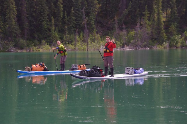 stand up paddling on the Yukon River