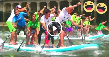 Red Paddle Co XL Ride inflatable paddleboard race