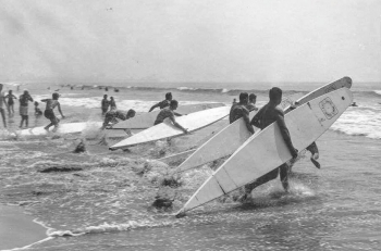 paddleboarding in the 1940s