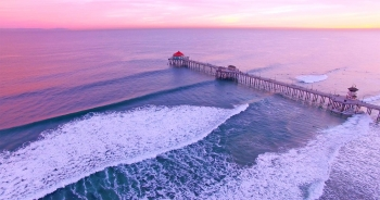 Huntington Beach drone aerial view