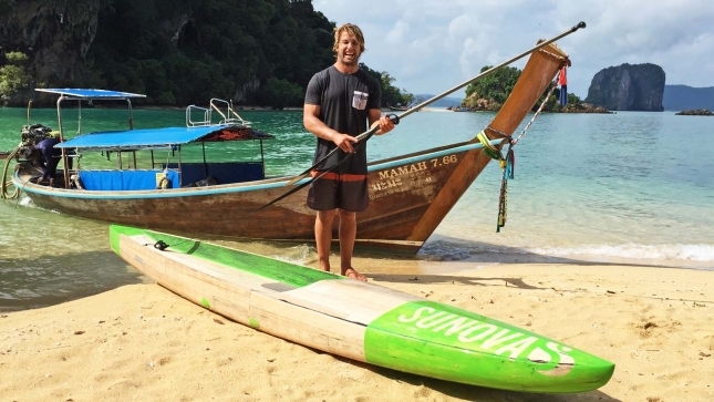 James Casey testing boards in Thailand earlier this month
