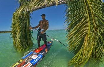 Tahitian stand up paddleboarder Georges Cronsteadt in Fiji
