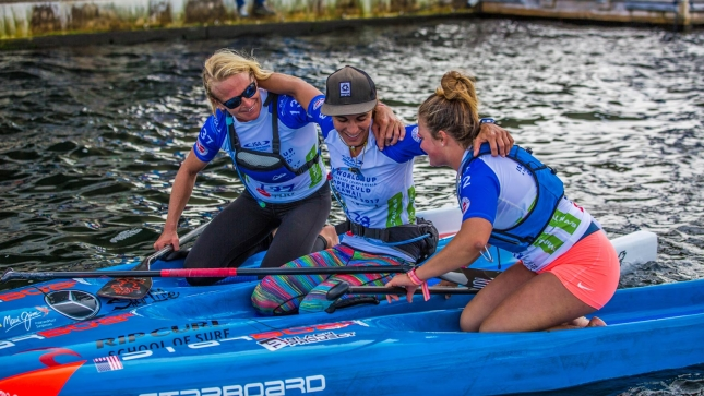 Team Starboard's Sonni Honscheid, Olivia Piana and Fiona Wylde